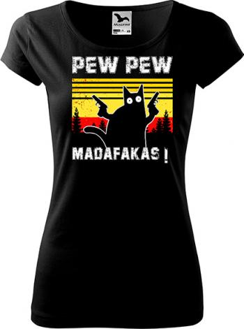 Tricou dama K-off negru Pew Pew Madafakas L Tricouri dama