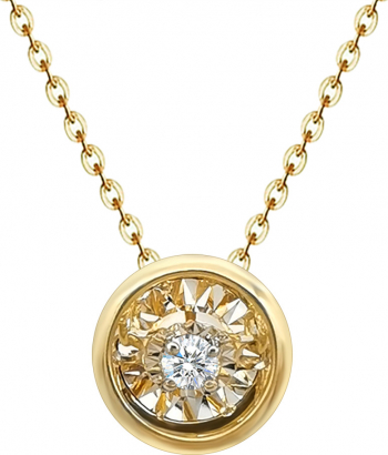 Colier Dancing Diamond Rotund - Aur 18K - 1.30gr cu Diamant natural 0.05ct Lanturi si Coliere