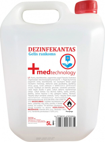 Dezinfectant Gel Maini Med Technology 80 Etanol 5 L - SGBLTECH-GM5 Gel antibacterian