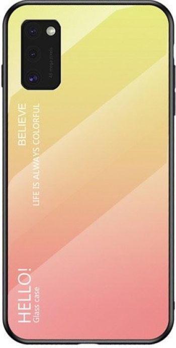 Husa Spate Upzz Gradient Glass Pentru Samsung Galaxy A41 spate Sticla Rezistenta Roz