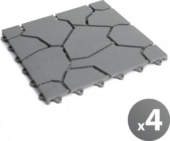 Set 4 buc. Placa Pavaj Plastic pentru Poteca Gradina Imitatie Piatra Gri Dimensiuni Placa 29x29x1.5cm