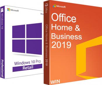 Windows 10 Pro RETAIL + Office Home and Business 2019 pentru firme mici - ambele 32/64 biti - Toate limbile + video tutorial /asistenta Sisteme de operare
