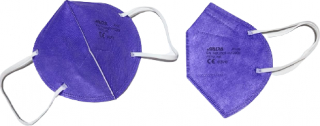 Set 50 masti Jiada FFP2 5 straturi BFE95 mov ambalare individuala certificare europeana CE 0370 Masti chirurgicale si reutilizabile