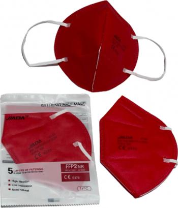 Set 50 masti Jiada FFP2 5 straturi BFE95 rosu ambalare individuala certificare europeana CE 0370 Masti chirurgicale si reutilizabile