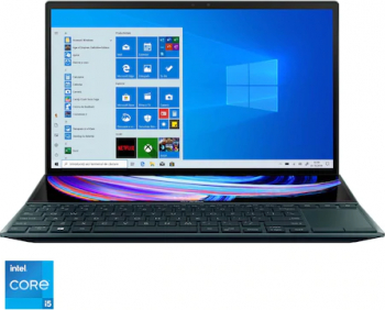 Ultrabook ASUS ZenBook Duo 14 UX482EG Intel Core (11th Gen) i5-1135G7 512GB SSD 8GB MX450 2GB FullHD Win10 Pro T.il. Celestial Blue Laptop laptopuri