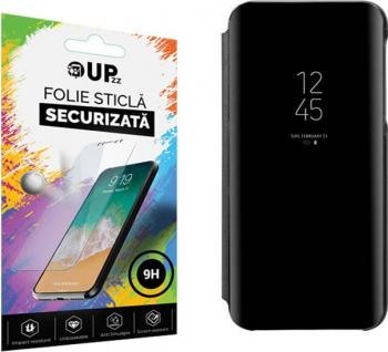 Husa Tip Carte Mirror Samsung Galaxy A21s Negru Cu Folie Sticla Upzz Glass Inclusa In Pachet Huse Telefoane