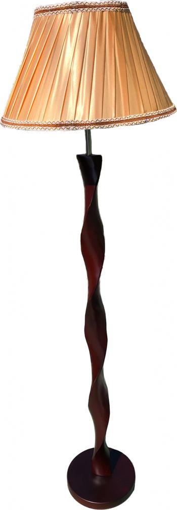 Lampadar lemn Full Electric 1e27 170cm inaltime picior lemn masiv venghe abajur textil maro intrerupator pe fir Corpuri de iluminat