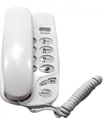 Telefon fix cu fir montabil pe perete tastatura iluminata redial mute flash alb