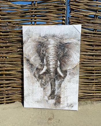 Tablou pictat manual Elephant 80 x 120 cm Gri Tablouri