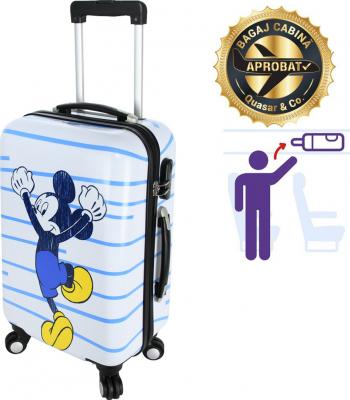 Troler cabina Disney 50 x 34 x 21 cm geamantan Love Mickey alb-albastru