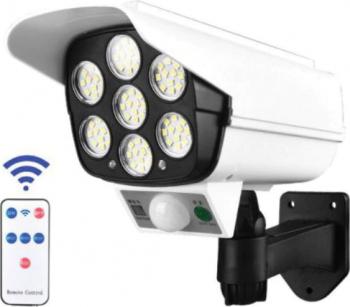 Camera falsa cu panou solar 77 LED senzor de miscare lampa solara telecomanda Camere de Supraveghere