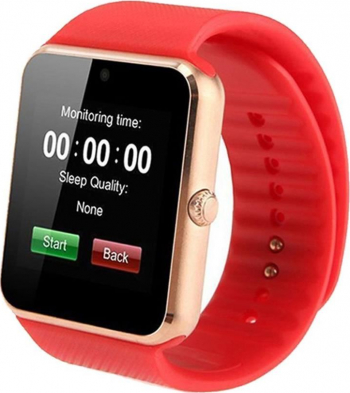 Ceas smart multifunctional siegbert iwatch auriu curea rosie Smartwatch