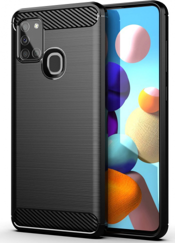 Husa Antisoc Carbon compatibila cu Samsung Galaxy A21s Black Huse Telefoane