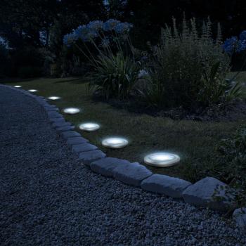 Lampa Solara LED Rotunda pentru Gazon cu Infigere in Sol Diametru 11cm Corpuri de iluminat