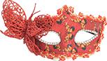 Masca carnaval venetian pentru ochi cu fluturas rosu