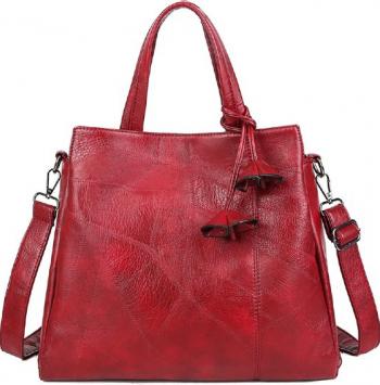 Poseta dama mare piele ecologica premium rosie 34x12x29 cm cu ciucuri office and casual Genti de dama