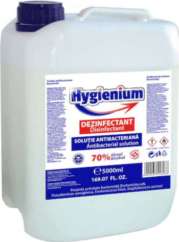 Solutie dezinfectanta pentru maini cu efect virucid HYGIENIUM Avizat Ministerul Sanatatii 5 Litri Gel antibacterian