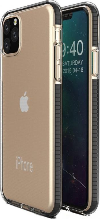 Husa Spate Upzz Spring iPhone 11 Pro Max silicon 1mm rezistenta La Socuri transparenta Cu Margine Neagra Huse Telefoane