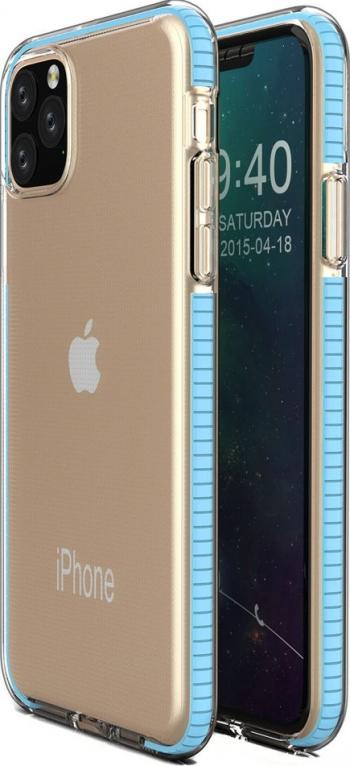 Husa Spate Upzz Spring iPhone 11 Pro silicon 1mm rezistenta La Socuri transparenta Cu Margine Albastru Deschis Huse Telefoane