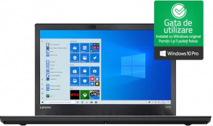 Laptop Lenovo ThinkPad T470 Intel Core i5-7300U 2.60GHz up to 3.50GHz 8GB DDR4 240GB SSD 14inch Webcam Win10 Pro Refurbished Laptopuri Renew & Refurbished
