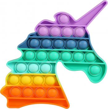 Jucarie antistres din silicon JAF Pop it now forma unicorn 21x12.5x1.5 cm multicolor Jucarii Interactive