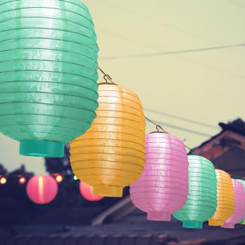 Lampa Solara LED Model Lampion Multicolore Dimensiuni 32x21cm Corpuri de iluminat