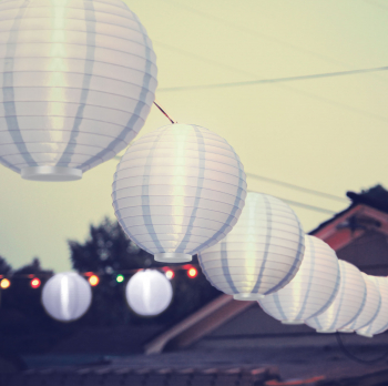 Lampa Solara LED Model Lampion Rotund Alb Diametru 20cm Corpuri de iluminat
