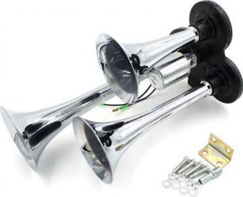 Claxon cu 3 goarne din inox fara compresor cu electrovalva 12V - sunet puternic Alarme auto si Senzori de parcare