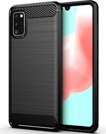 Husa protectie Carbon Silicone pentru Samsung Galaxy A41 Negru
