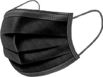 Set 50x Masti negre filtrare bacteriana si particule 4 straturi 3 pliuri