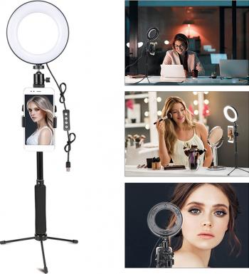Set lumina circulara LED 15.2 cm trepied clema telefon declansator bluetooth Gimbal, Selfie Stick si lentile telefon