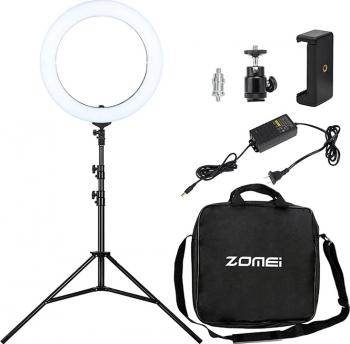 Set lumina circulara LED 45.7 cm trepied clema telefon filtru portocaliu Gimbal, Selfie Stick si lentile telefon