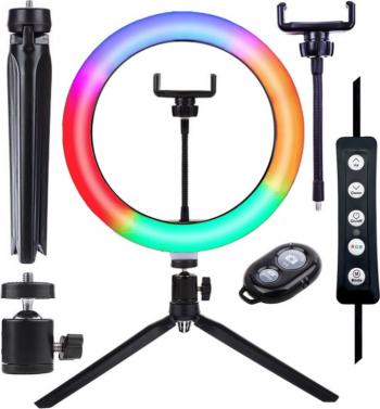 Set lumina circulara LED RGB 25.4 cm trepied clema telefon declansator bluetooth Gimbal, Selfie Stick si lentile telefon