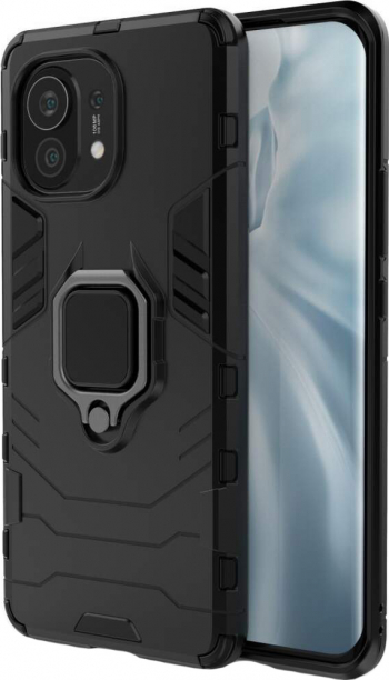 Husa G-Ring Defender compatibila cu Xiaomi Mi 11 Antishock Armor Inel rotativ 360 grade Magnet suport auto incorporat TPU + PC Black