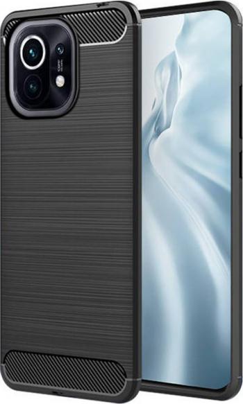 Husa G-Tech TPU din carbon compatibila cu Xiaomi Mi 11 Negru