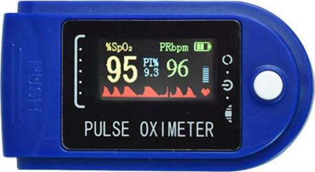 Pulsoximetru Iso Trade indica nivelul de saturatie a oxigenului din sange masoara rata pulsului albastru cu alb Pulsoximetre