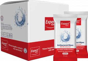 Servetele antibacteriene Expert Wipes Classic pachet 16 x 15 240 buc Gel antibacterian