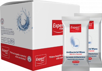 Servetele antibacteriene Expert Wipes Sensitive pachet 16 x 15 240 buc Gel antibacterian