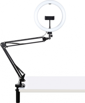 Brat suport cu clema telefon si lumina led circulara 10.2 inch 26 cm Gimbal, Selfie Stick si lentile telefon