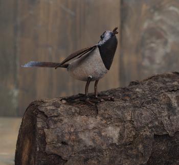 Figurina metal Birds large white/brown mix Obiecte de arta