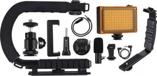 Suport de stabilizare in forma de C cu lummini led microfon shotgun si cap de trepied cold shoe pentru telefoane mobile si aparate foto Gimbal, Selfie Stick si lentile telefon