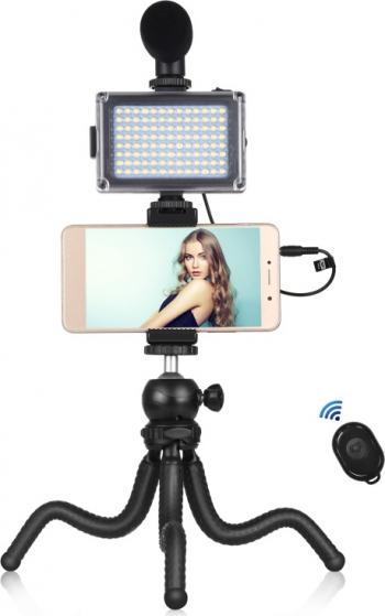 Kit vlogg pentru telefon cu trepied flexibil lumini si microfon Gimbal, Selfie Stick si lentile telefon