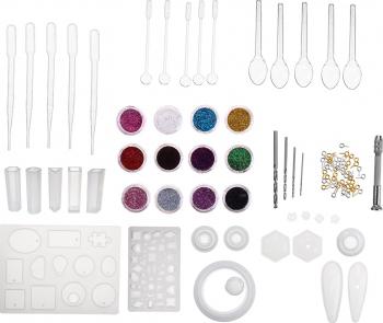 98Pcs DIY silicon pandantiv Mold bijuterii Efectuarea Cub Rasina forme de turnare Mestesug Instrumente Kit