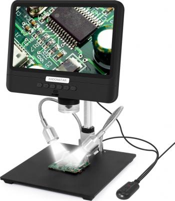 Andonstar AD208S 8.5 inch 5X-1200X Microscop digital reglabil 1280 800 Display LCD Microscop 1080P lipit instrument cu doua lumini umplere