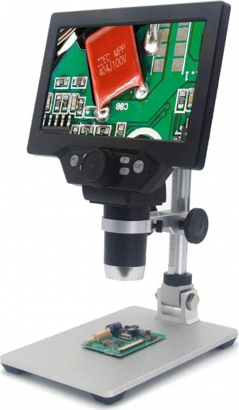 MUSTOOL G1200 Microscop digital 12MP 7 inch ecran color de baza mare Display LCD 1-1200X Amplification Lupa cu aliaj de aluminiu
