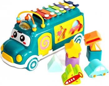 Autobuz muzical jucarie de tras verde sortator Educarici Jucarii Bebelusi