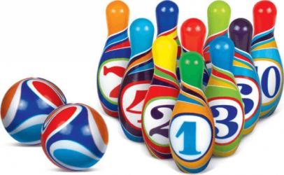 Set bowling cu 10 popice colorate 2 bile moi Educarici Jucarii
