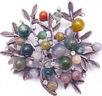 Brosa copacul vietii cu pietre naturale mix culori Casete Bijuterii
