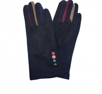 Manusi dama cu nasturi si degete cu aplicatii multicolore Tia Accesorii marime universala negru Accesorii Dama