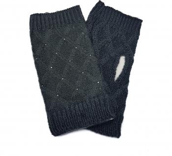 Manusi dama tricotate fara degete Tia accesorii marime universala gri inchis Accesorii Dama